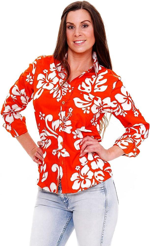 V.H.O. Funky Camisa Hawaiana, LS Hibiscus, Orange, XS: Amazon.es: Ropa y accesorios