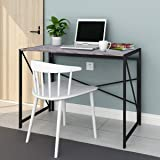 BOFENG Rustic Office Table,Vintage Commercial Home Office Desk with Heavy Duty Iron Base Solid Wood as Writing Desk or Computer Desk