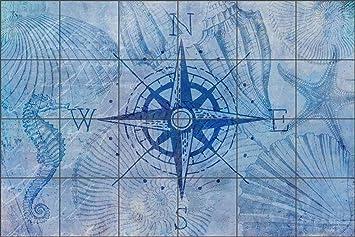 Merveilleux Tile Mural Backsplash Vintage Nautical Compass By Andrea Haase Ceramic  Kitchen Wall (25.5u0026quot; X