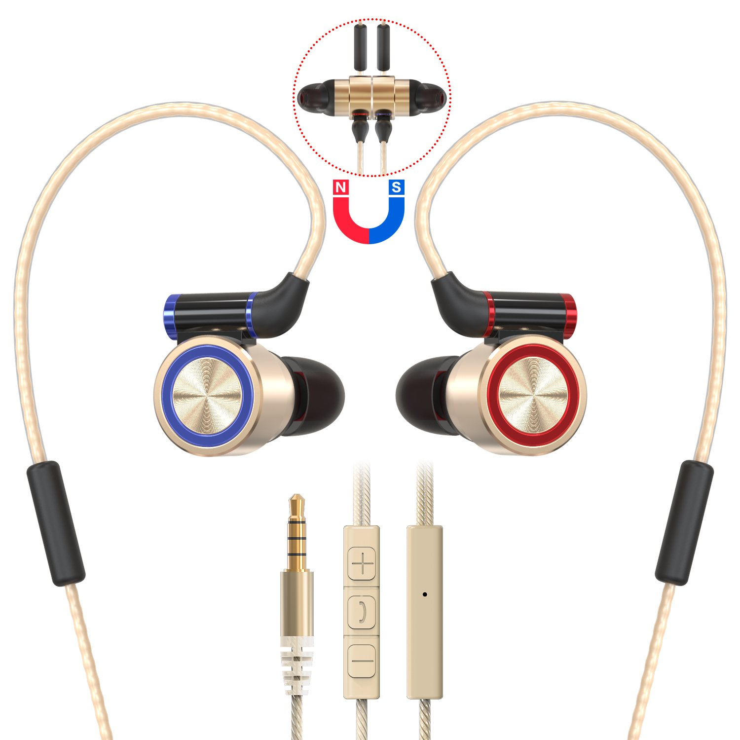 Sports Earbuds with Mic Volume Control Magnetic Attraction, Metal In-ear Running Headphones, Stereo Workout Earphones Wired for 3.5mm Jack Noise Isolating Bass Android/IOS Earbuds (Gold)