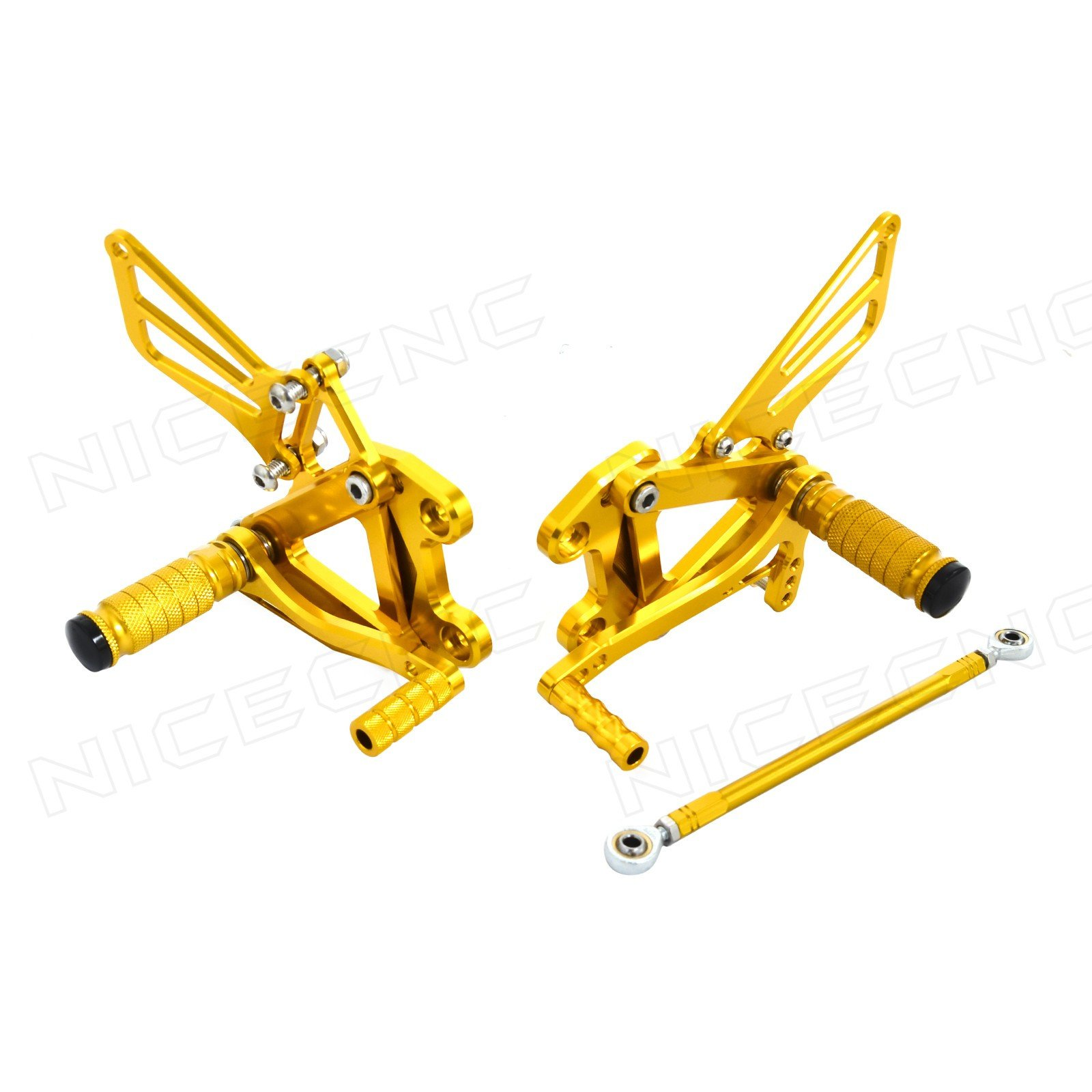 NICECNC Gold Adjustable Left and Right Racing Rearsets/Rear Sets Footrests for Kawasaki ZZR600 2005-2008 Ninja ZX-6 ZX-6R 1998-2002 ZX-9R 1998-2003