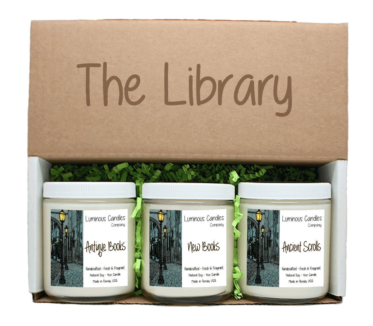 amazon com scented candles the library set includes antique