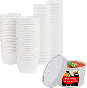 Stock Your Home (50 Count) 8 oz White Disposable Soup Cups with Lids have Multipurpose Use as Ice Cream Cups with Lids - Soup Containers To Go for Restaurants, Delis, and Cafes