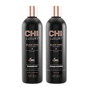 CHI Luxury Black Seed Oil Blend Gentle Cleansing Shampoo 12 Fl Oz, CHI Luxury Black Seed Oil Blend Moisture Replenish Conditioner 12 Fl Oz (pack Of 2), 12 fluid_ounces