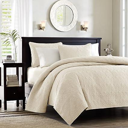 madison park quebec fullqueen size quilt bedding set ivory damask 3