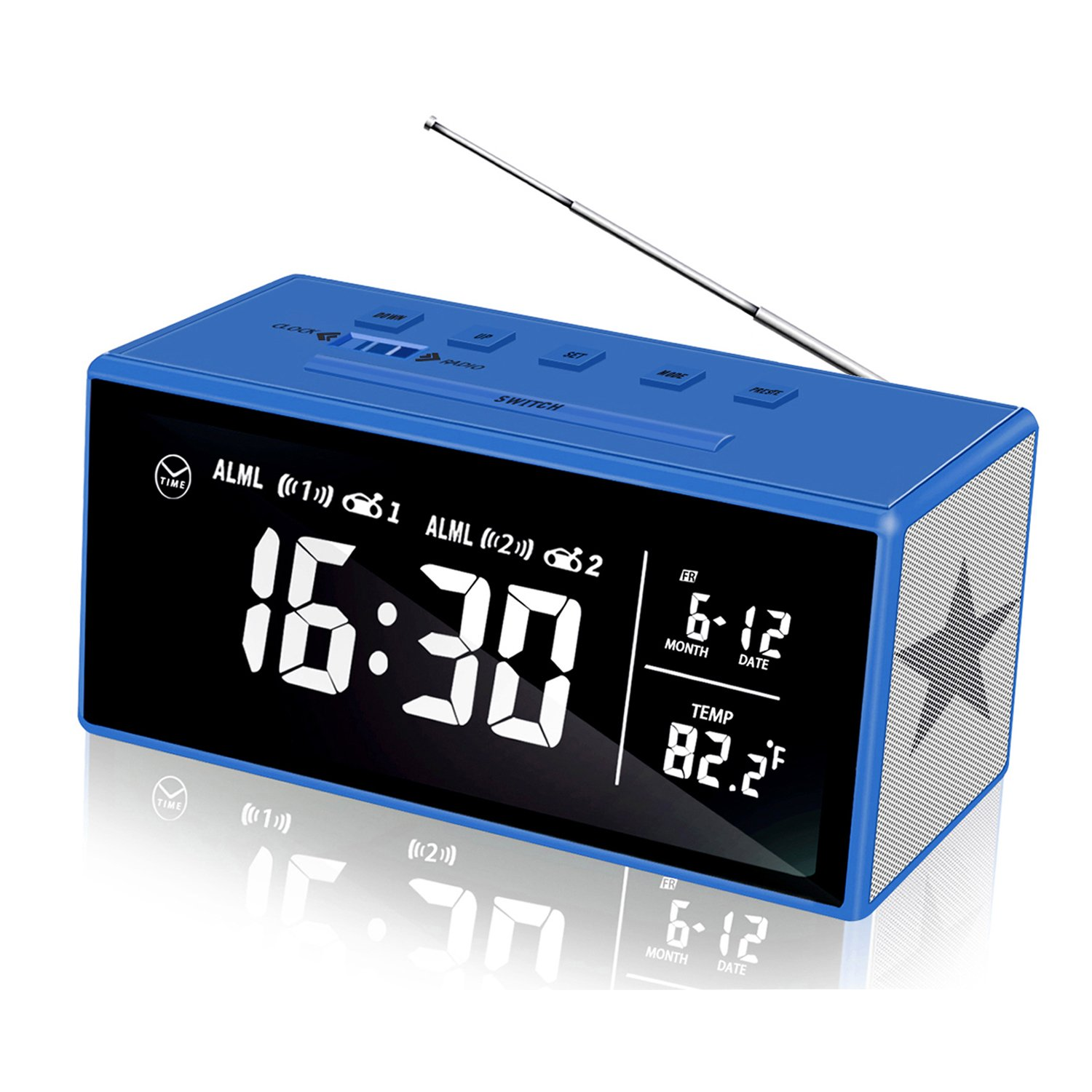 KABB Clock Radio, 7 Inches LCD Display FM Dual Alarm Clock with Snooze,  Sleep Timer, Dimmer, 1 4 Digital Clock with Calendar Temperature and  Battery