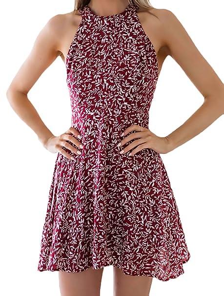 Vestido Summer Mujer Elegantes Modernas Boho Vestidos Informales Woman Alta Calidad Corto Hombros Descubiertos Espalda Descubierta Mini Florales Vestido ...