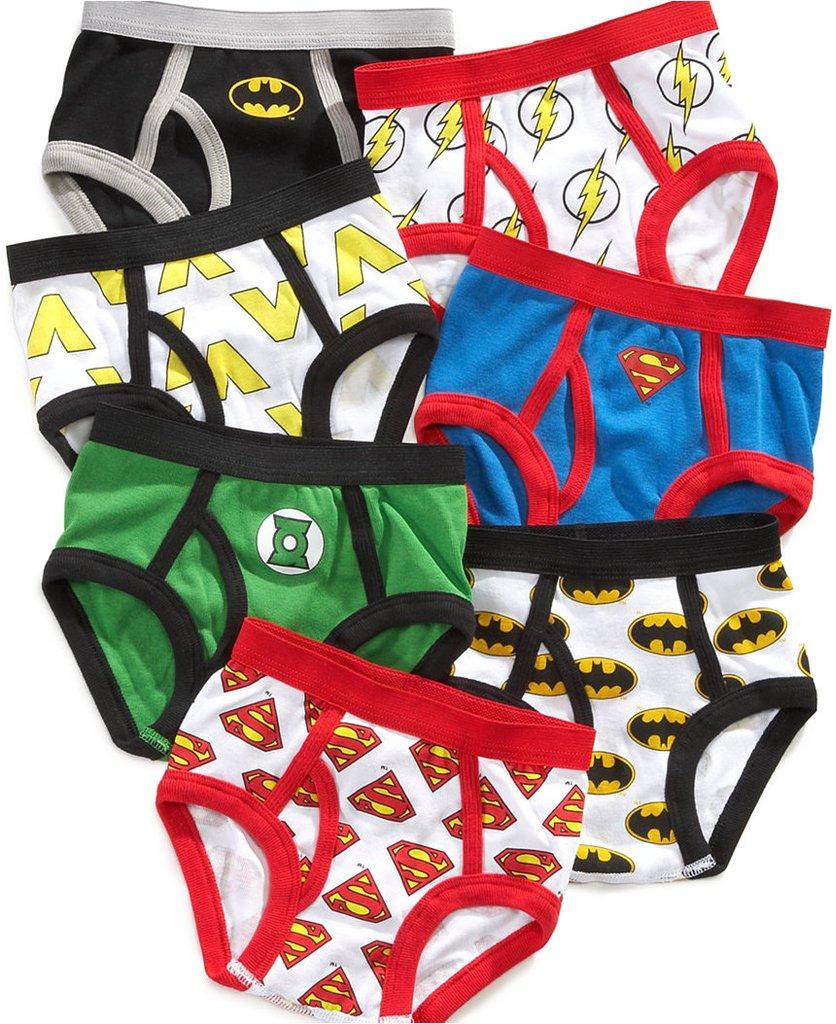 Justice League Little Boys' Toddler Briefs, Pack of Seven Batman Superman Flash