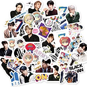 BTS Sticker Pack BTS 55Pcs Map of The Soul 7 Sticker Pack Cartoon Waterproof vinly Stickers for Laptop Notebook Kpop Sticker (55Pcs)