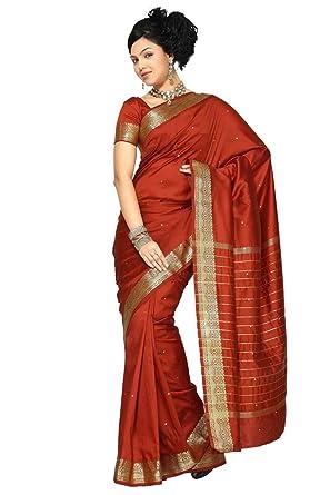 amazon com indian selections rust art silk saree sari fabric