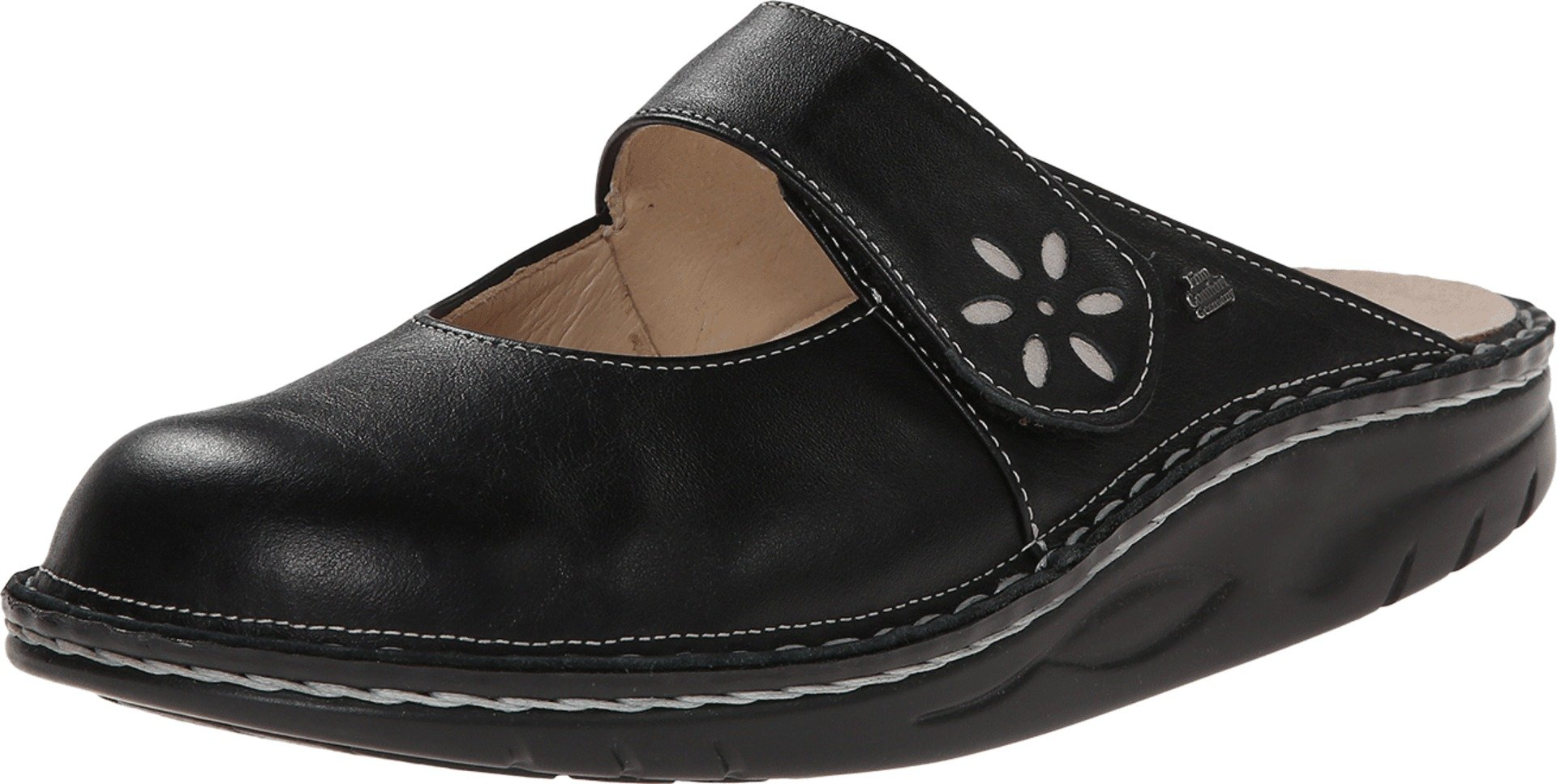Finn Comfort Women's Side Clog,Black/Silver,40 EU (US Women's 9 M)