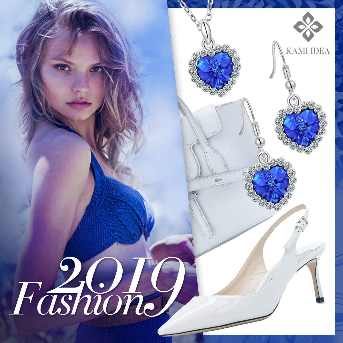 Cadeau de No/ël Kami Idea Ensemble de Bijoux Cristal Coeur Bleu de Swarovski Collier et Bracelet et Boucles doreilles Amour Bleu Bo/îte /à Bijoux