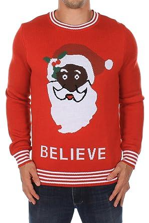 uglychristmas believe black santa ugly christmas sweater extra large