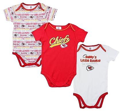 7381b968 Kansas City Chiefs NFL Unisex Baby Infant 3 Piece Bodysuit Set, Red and  White