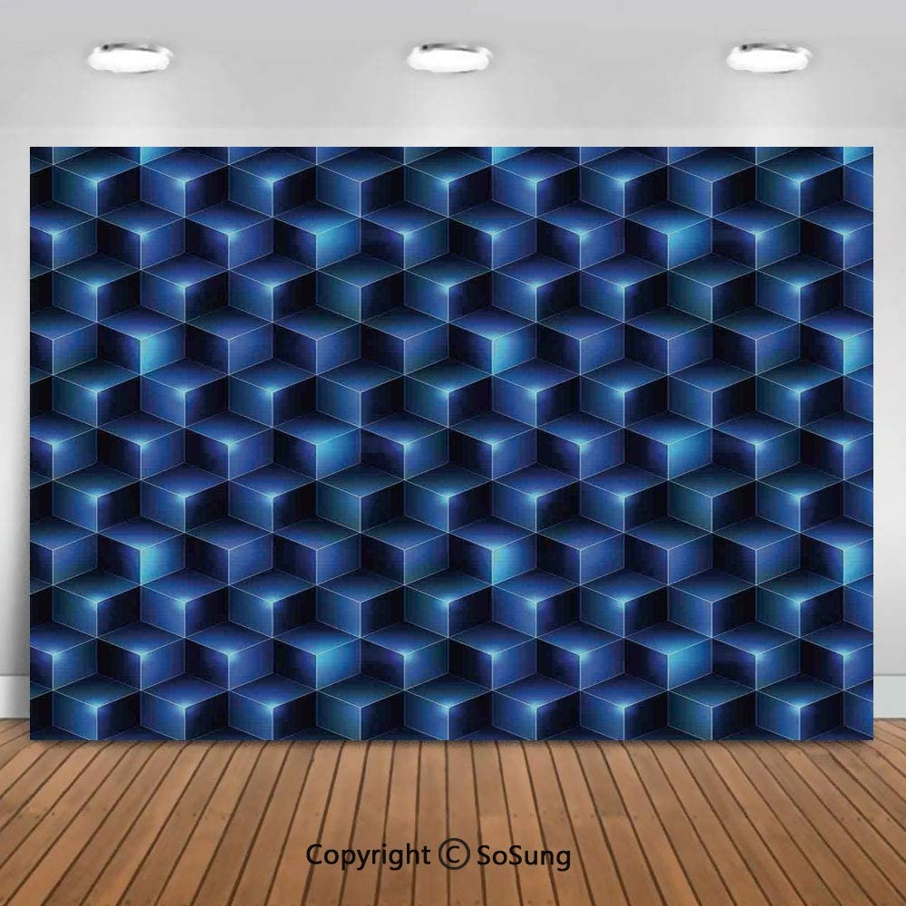 10x6.5Ft Vinyl Navy Blue Decor Backdrop for Photography,Digital Effect Neon Shaded Cubes Edgy Patterns Contemporary Illustration Home Background Newborn Baby Photoshoot Portrait Studio Props Birthday