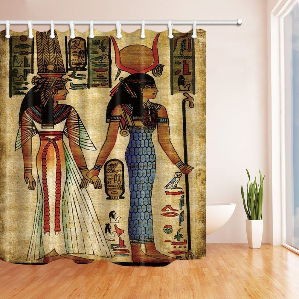 HiSoho 3D Digital Printing Egyptian King and Queen Shower Curtain, Mildew Resistant Waterproof Polyester Fabric Bathroom Decorations, Bath Curtains Hooks Included, 71X71 inches