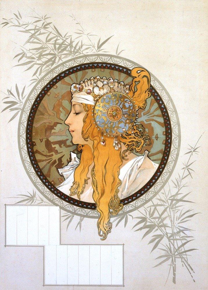 Byzantine Heads (blonde) Vintage Poster (artist: Mucha, Alphonse) France c. 1897 (9x12 Art Print, Wall Decor Travel Poster)