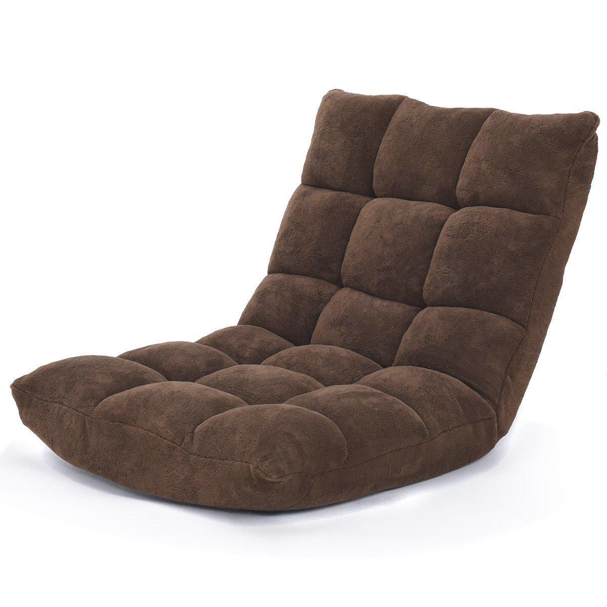 Coffee 41.5'' Folding Floor Chair Cushioned Lazy Gaming Sofa w/14 Position Adjustable
