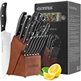 esonmus Kitchen Knife Set, 15-piece Knife Set with Wooden Block & Sharpener,Stainless Steel Forged Chef Knives Set,ABS Handle
