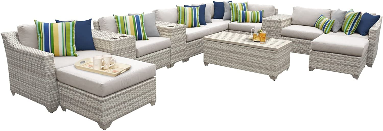 TK Classics FAIRMONT-14a 14 Piece Outdoor Wicker Patio Furniture Set