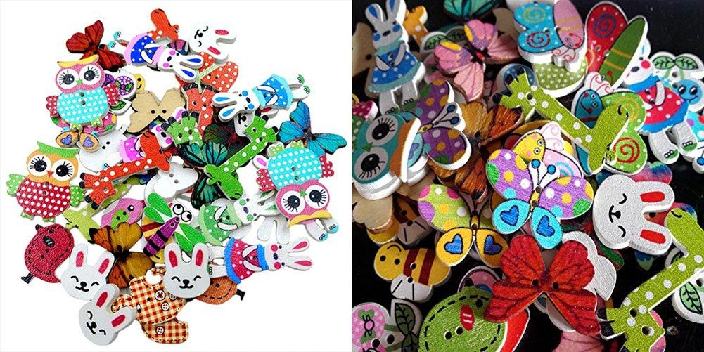 50/x Toruiwa pulsanti bottoni in legno Cartoon Animal stampato pulsanti abbigliamento cucito accessori fai da te fatti a mano artigianale decorazione colore casuale