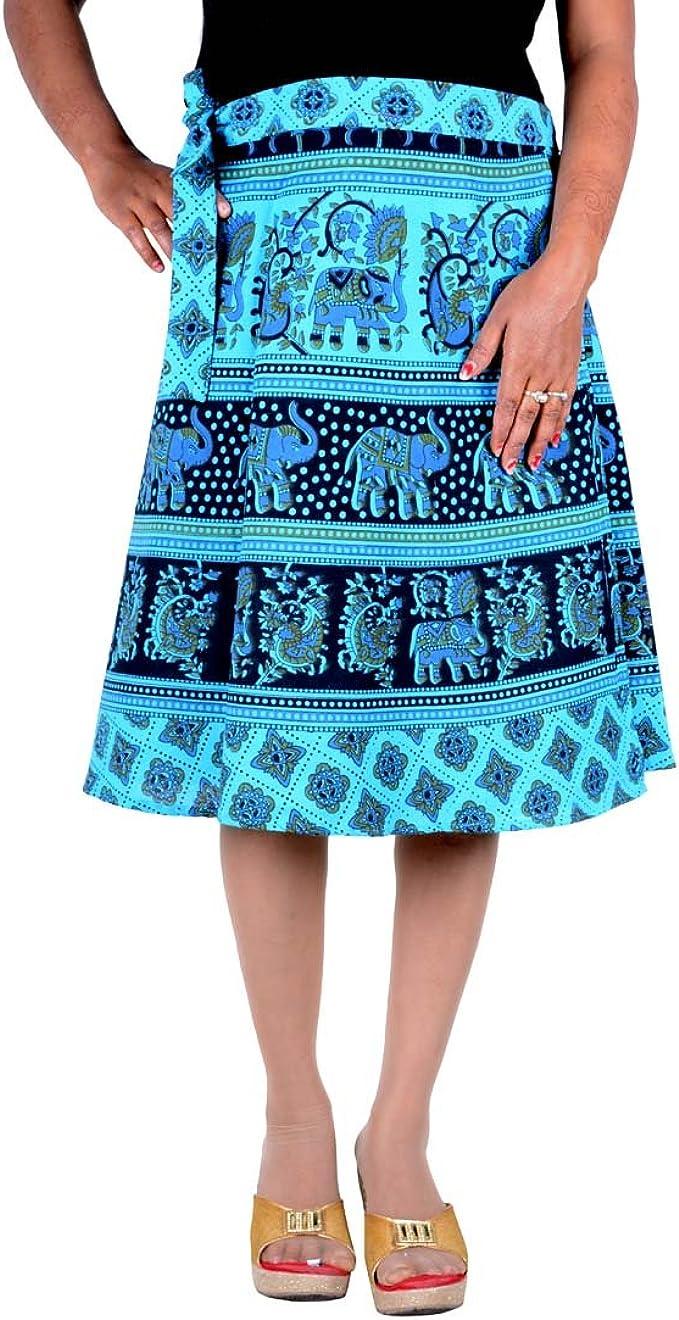 Jaipuri Print Cotton Wrap Around Mini Short Skirt Free Size Rapron Skirt