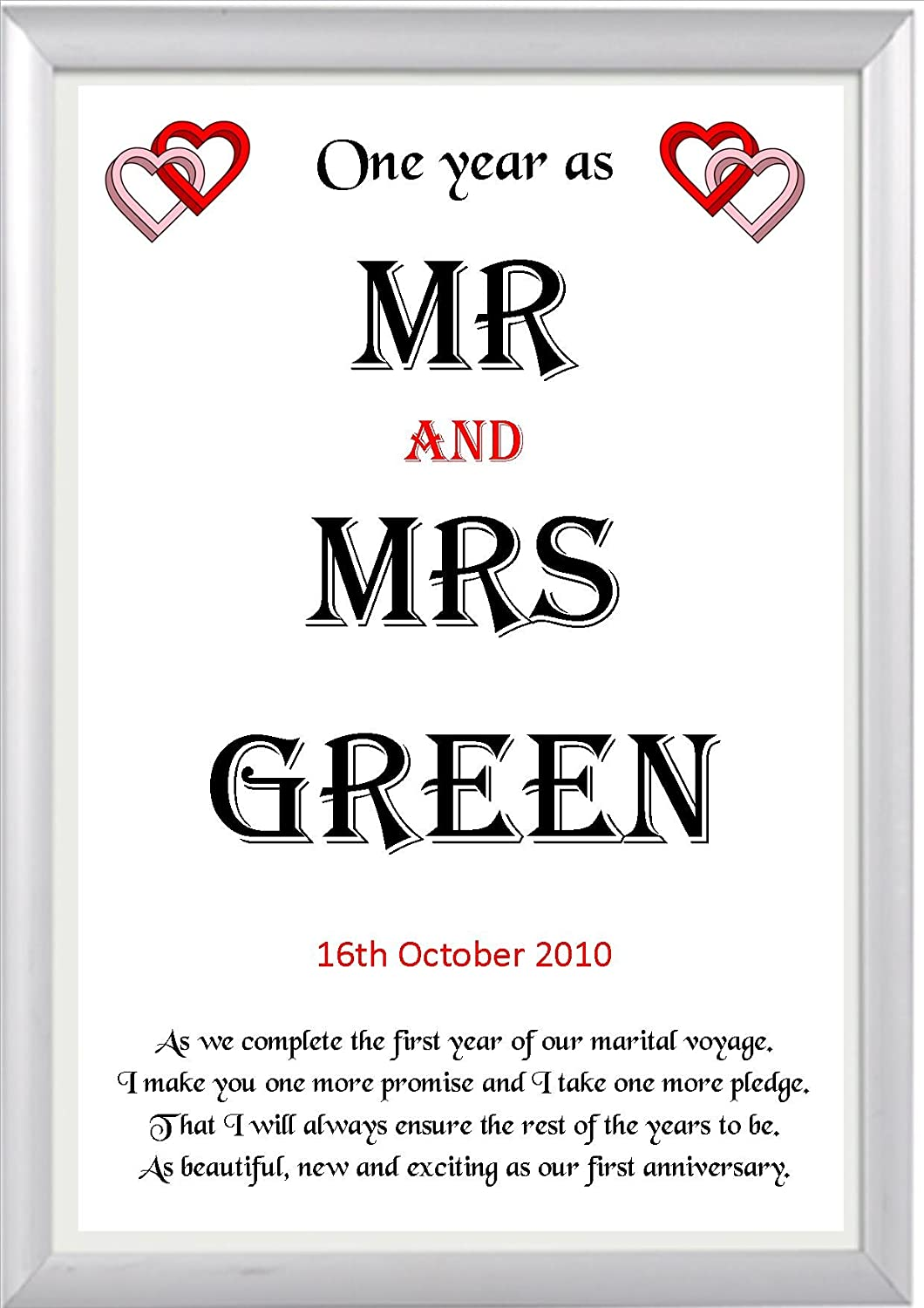 a3 Card Various Sizes Card or Laminated Wedding Anniversary Gift Poem 1st Year Paper Print Personalised