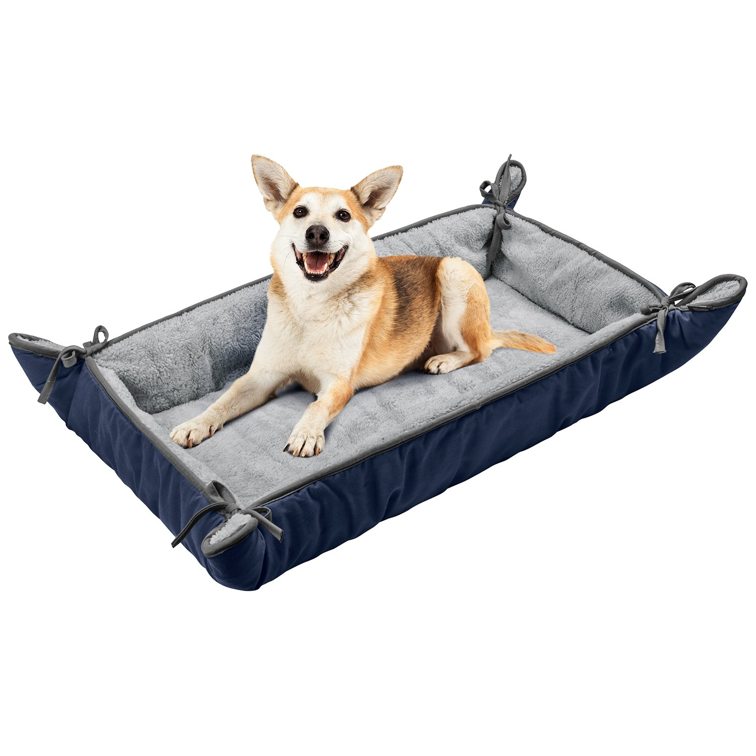 Dog Cuddler Bed,Washable Crate Pad Mat Blanket,Soft Plush Thick Pet Sofa Kennel Cushion Liner for Small Medium Large Dogs Puppy Cats Blue