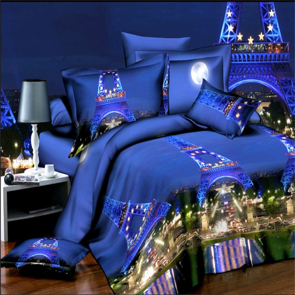 4Pcs Brilliant Paris Night 3D Prints Duvet Cover Set For Queen Size