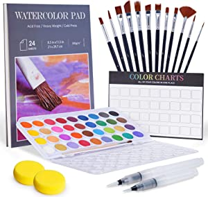 Tiny Castle 55 PCS Watercolor Paint Set, 36 Paint & 1 Palette, 24 Pages 300g Painting Pad, 12 Water Color Brushes, 2 Fillable Pens, 2 Sponges, All in 1 Paint Set, Art Supplies for Kids and Adults