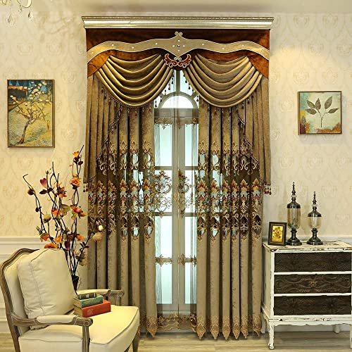TIYANA European Curtains Delicate Embroidery Curtains Brown Cloth Curtains Grommet Top Luxurious Royal Style Window Panels Anti-Noise Ring Window Treatment