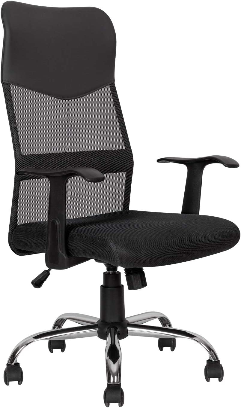 Ergonomic Office Chair Desk Chair Mesh Mid Back Swivel Lumbar Support Rolling Swivel Computer Chair Task Chair PU Leather Executive Chair, Black