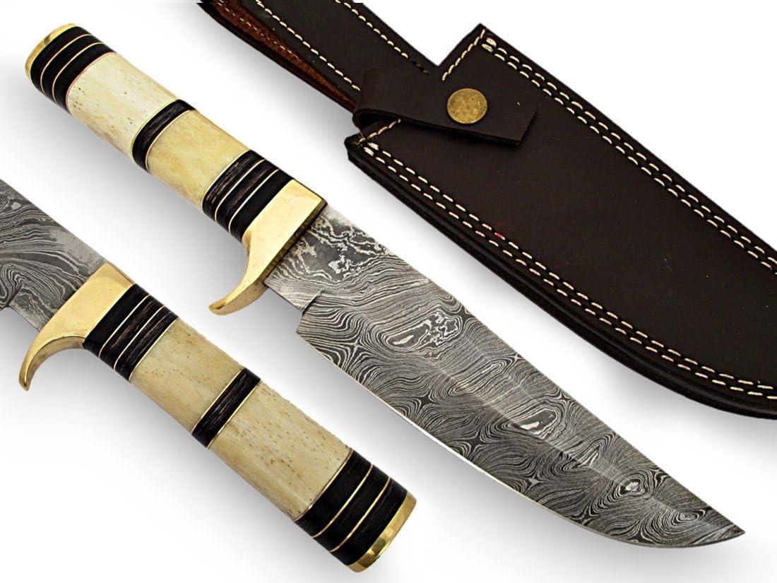 AishaTech Harpoon Hunting Knife Damascus Steel Blade Bone Handle