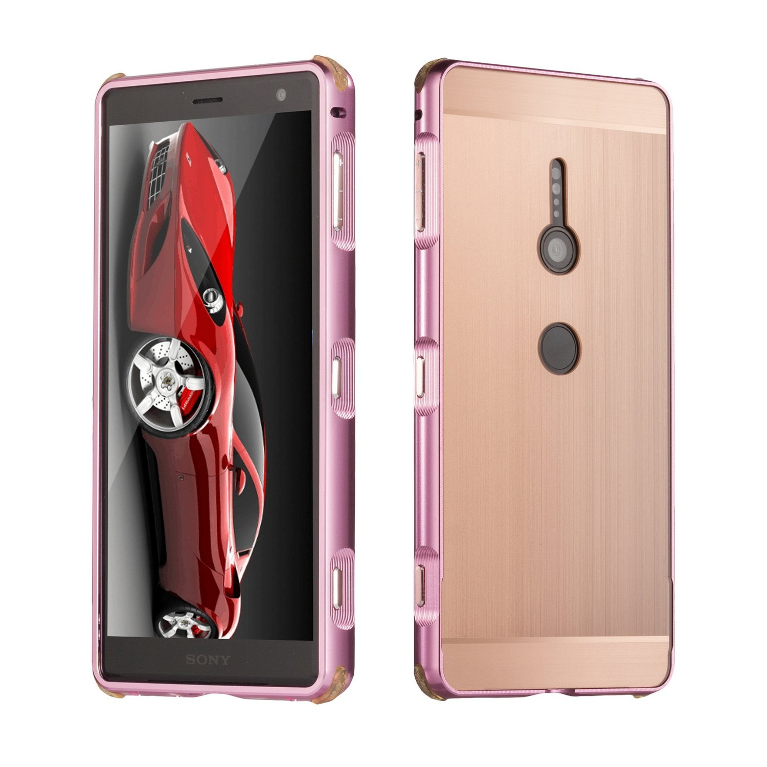 DAMONDY Xperia XZ2 Case, Luxury Ultra thin Imitation Metal Brushed Premium Aluminum Shockproof Protective Bumper Hard Back Cover Case for Sony Xperia XZ2-Rose by DAMONDY
