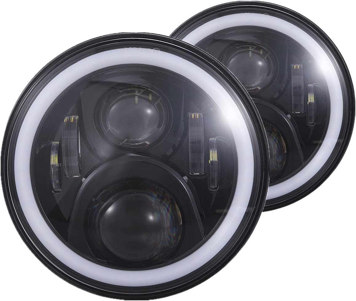Vouke Black Led Daymaker Headlight with White Halo