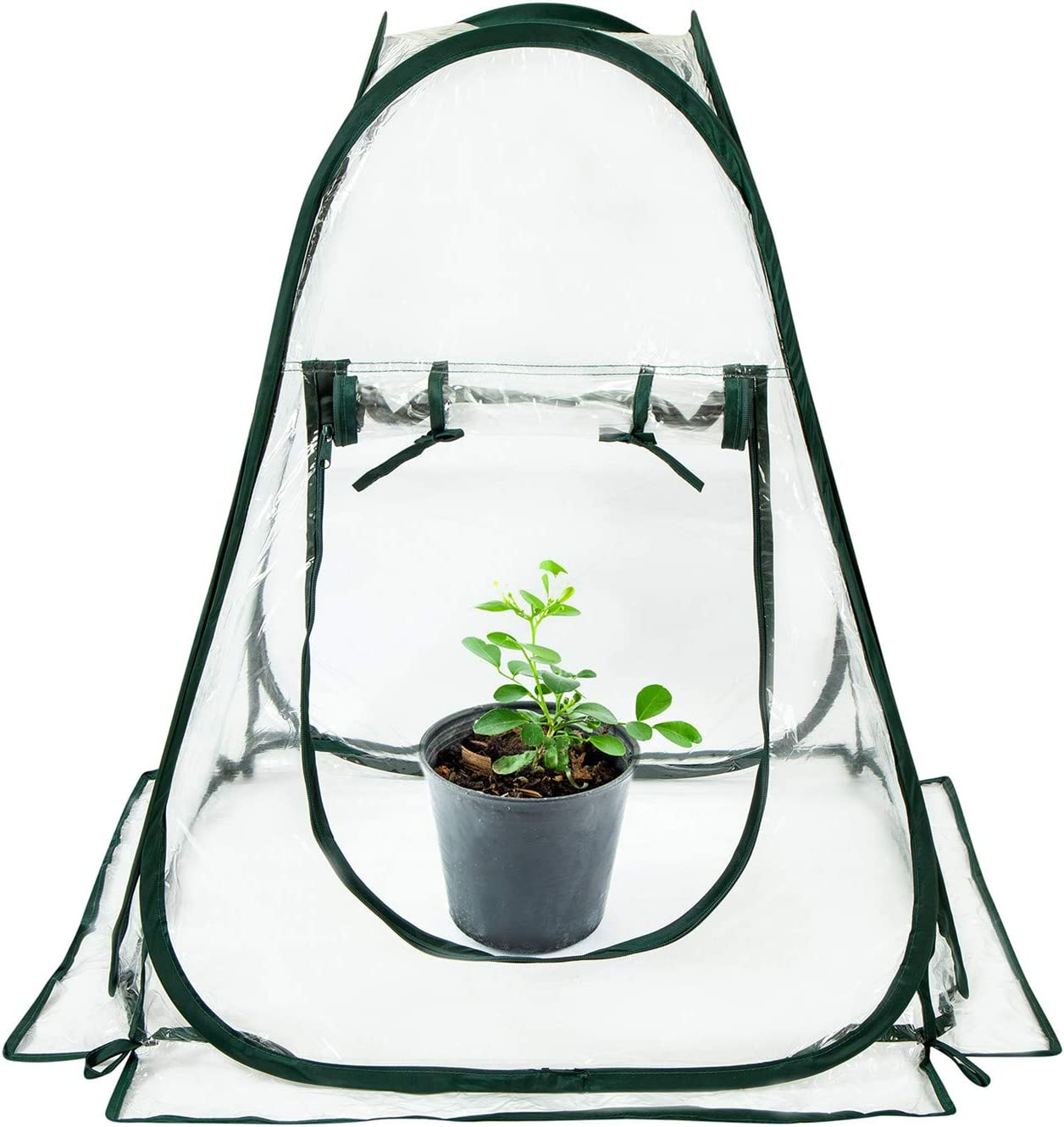 "Comlax Mini Greenhouse Pop up Plant Grow House Portable for Indoor & Outdoor Garden Backyard Flower Pot Cover/Shelter 28""x28""x31"""