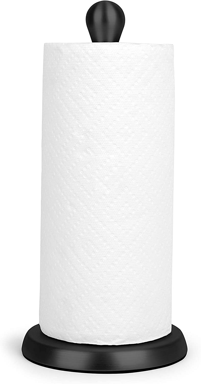 Umbra Tug Modern Stand Up Paper Towel Holder – Easy One-Handed Tear Kitchen Paper Towel Dispenser with Weighted Base for Standard Paper Towel Rolls, Metallic Black