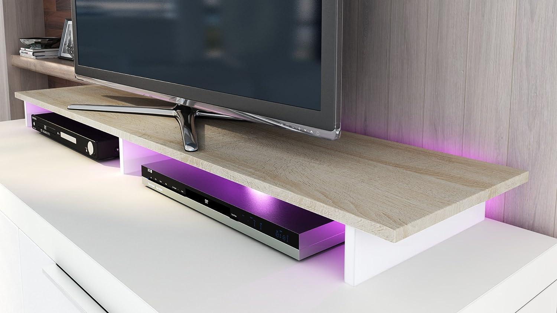 Vladon TV Stand Unit Game in White matt/White High Gloss White / Rough-sawn Oak