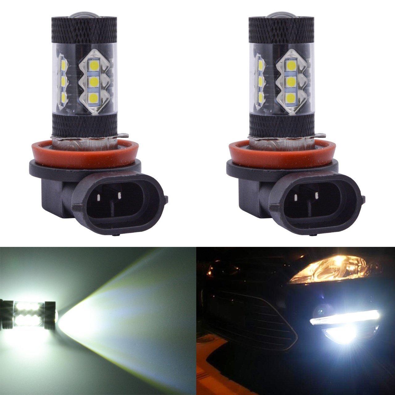 2 x H11 H8 LED Ampoule de Antibrouillard 80W 16 SMD 2828 LED Voiture Lampe de Brouillard 12V Auto Lampe Blanc AUTLY