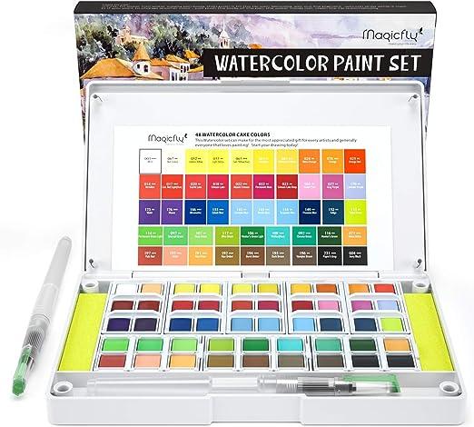 Magicfly Pintura Acuarela 48 Colores, Maletín de Pinturas Niños Estuche Acuarela Juego Caja Set de Acuarela con 2 Pinceles de Acuarela, 2 Esponjas: Amazon.es: Hogar