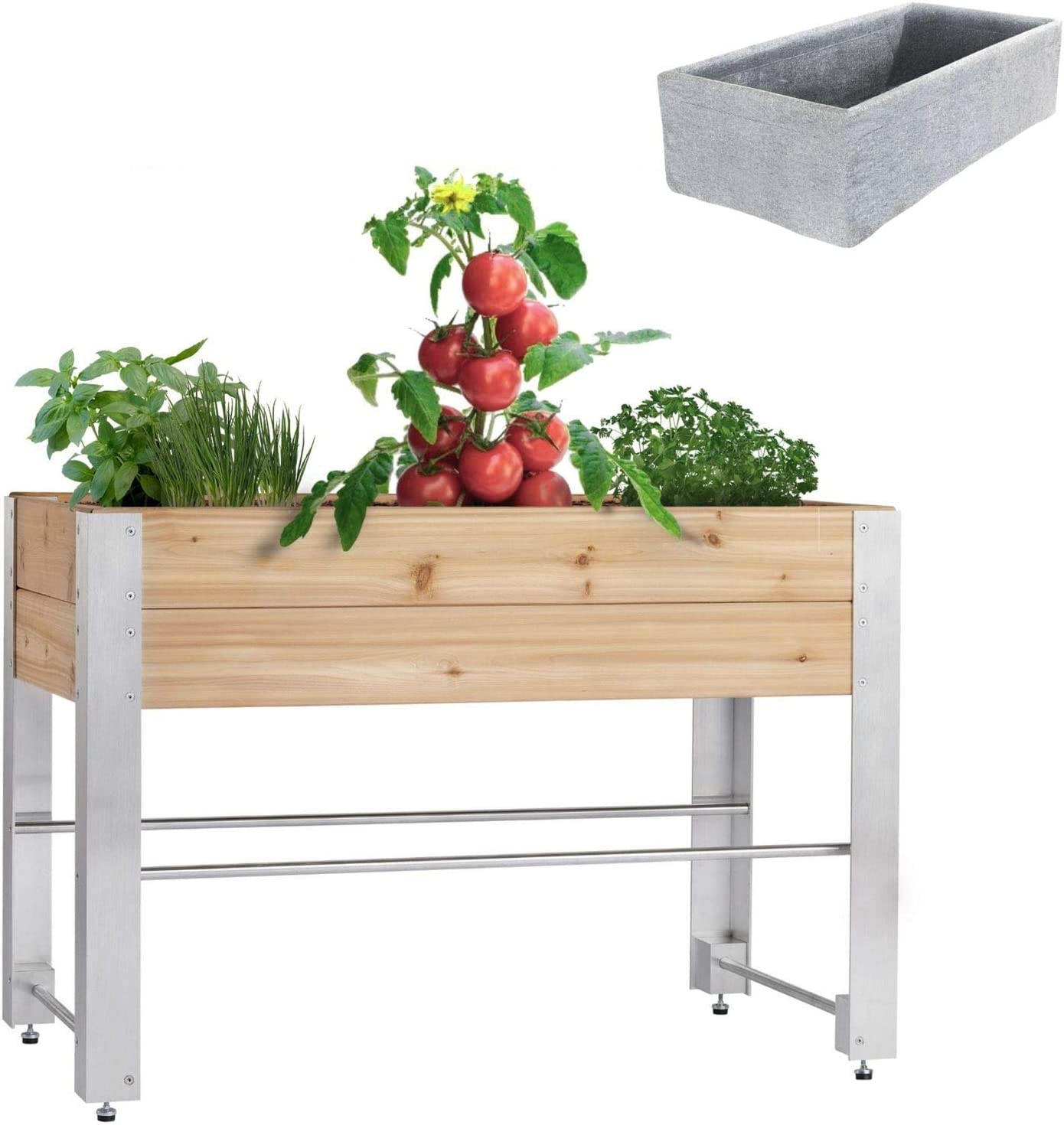 AHH Cedar Raised Garden Bed Kit Anodized Brushed Aluminum, Red Cedar Planter Ideal Raised Garden Planter Box with Legs for Vegetables, Herbs, Flowers - Elevated Cedar Planter Box 1.5x4ft 33inch High