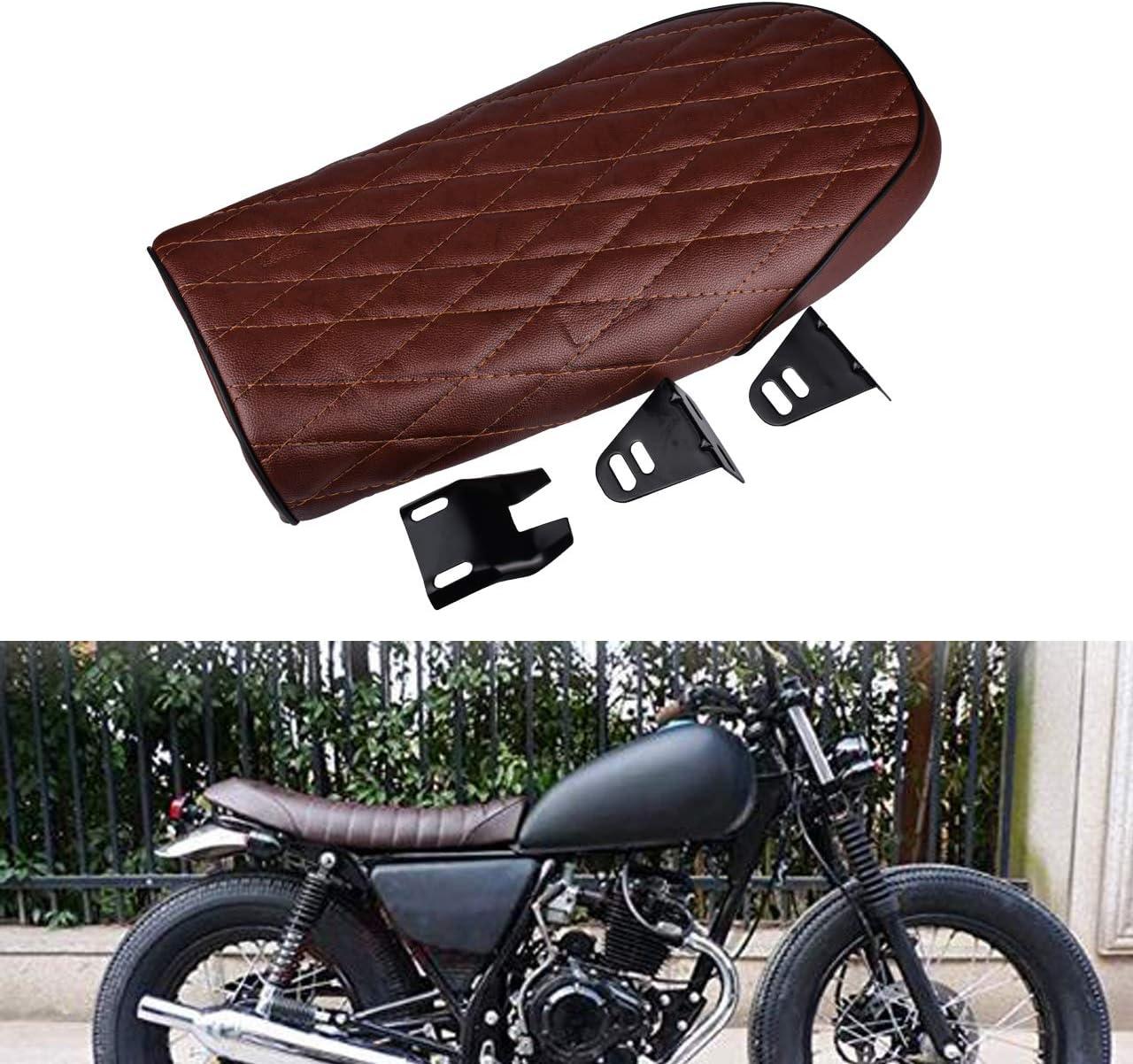 Lorenlli Asiento Universal Cafe R Hecho de Cuero Impermeable Acolchado con Esponja Universal para Motocicleta Honda CG Series