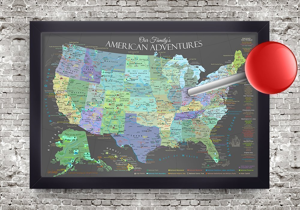 USA Push Pin Travel Map - Slate Edition - 30x20 inch map + frame - Designed by a Professional Geographer (Masters in Environmental Science)