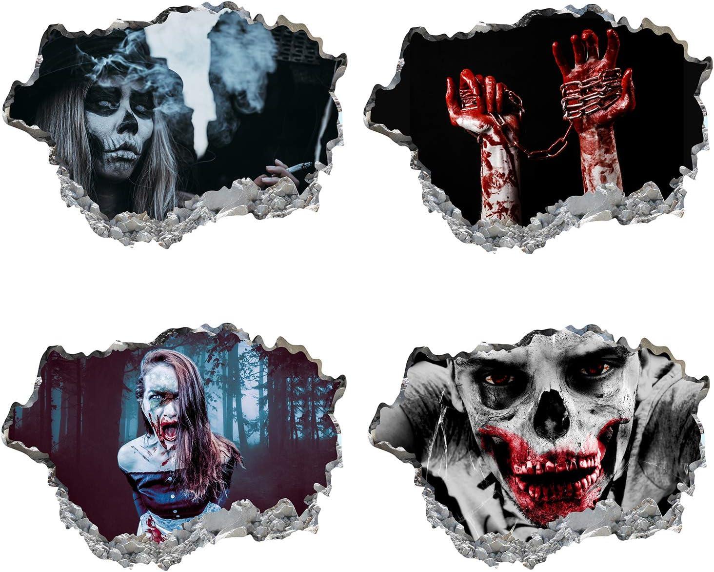 Halloween Creepy Horror Ghost 3D Wall Art Stickers Vinyl Mural Decal Party Decor