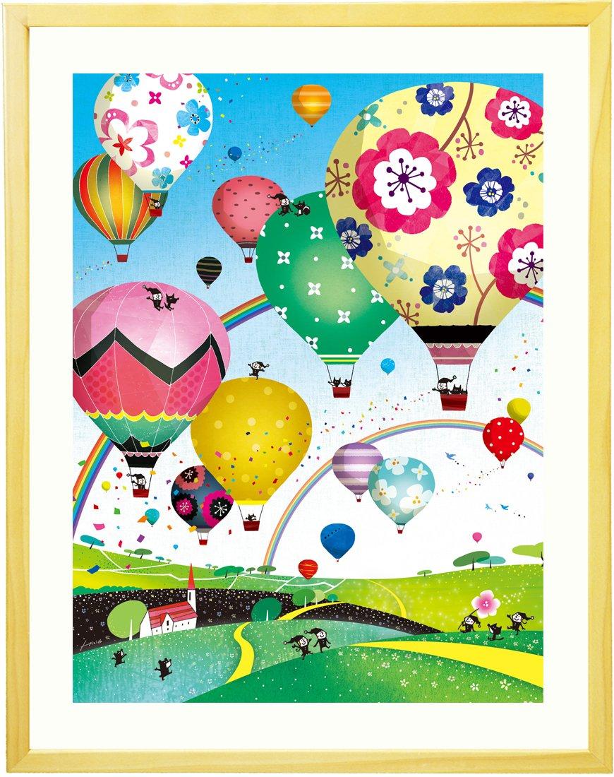 絵画インテリアアート 花気球 風景画 「どこまでも どこまでも ~ モーニング~」 額入りS(270mm×220mm) 玄関やリビング、誕生日プレゼントに B012VKH1VMSサイズ