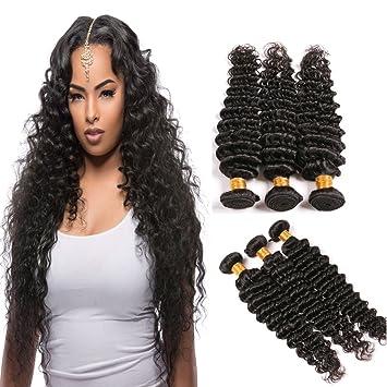 Amazon Com Human Deep Wave Brazilian Hair 3 Bundles 8 10 12 Inch