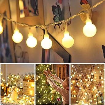 Pilas USB 2 en 1 Guirnaldas Luces Control Remoto 13m 100 Led Bolas 8 modos Blanco Luces de Adornos Navidad Impermeable Para Interior Exterior Fiesta Jardín Habitacion Decoración: Amazon.es: Iluminación