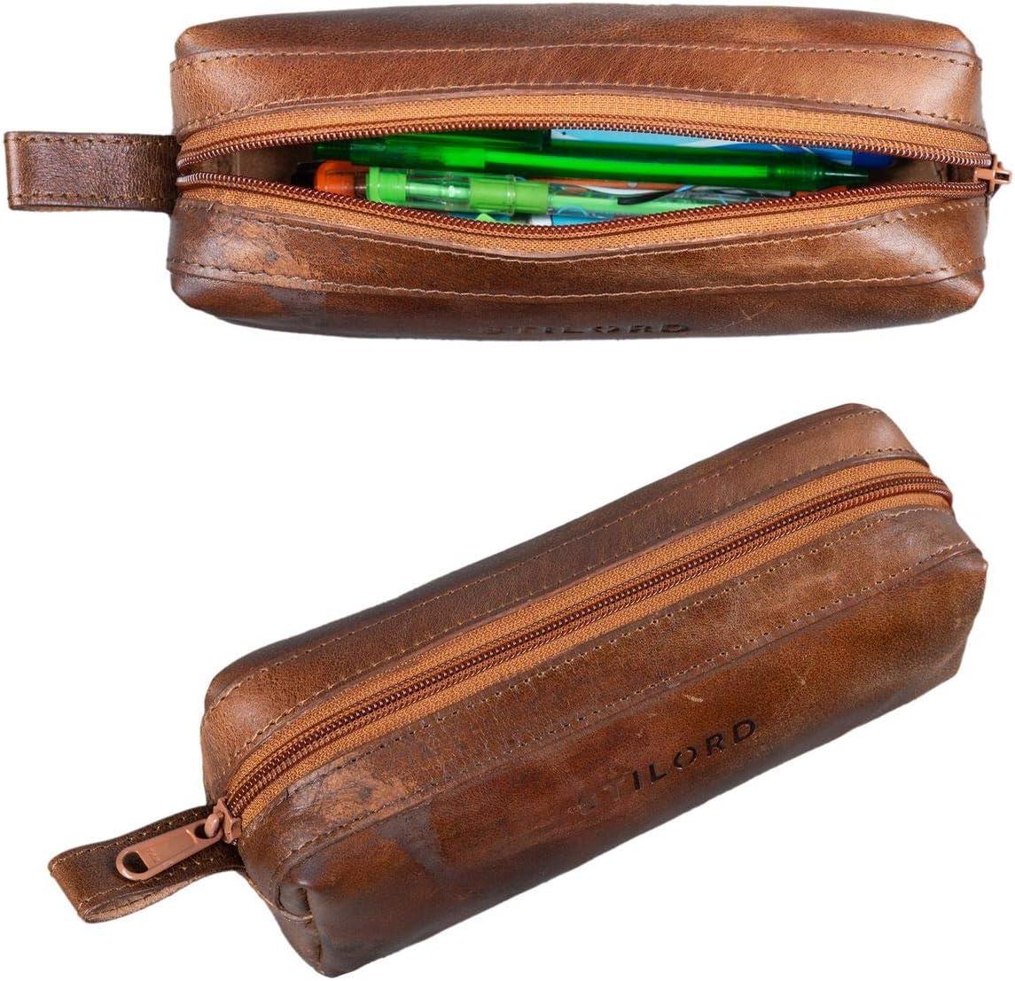Color:Chocolate marr/ón STILORD Linus Estuche Escolar para l/ápices de Piel Bolsa o portatodo para Maquillaje Colegio o Viaje Cartuchera Cuadrada de Genuino Cuero Vintage