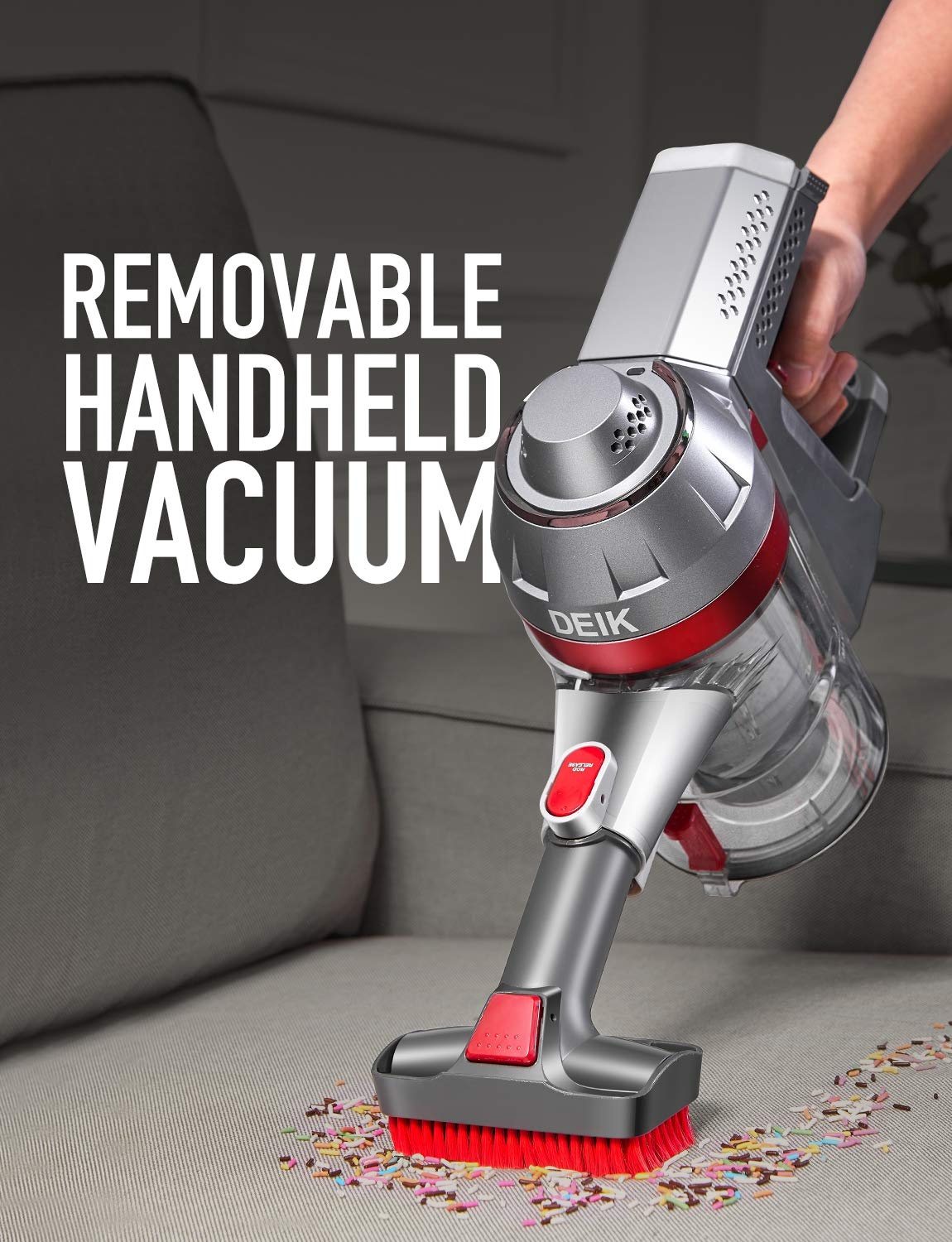 2 in 1 Stick Handheld Vacuum with Powerful Suction /& LED Brush for Home and Car Cleaning Silver Deik Cordless Vacuum Cleaner