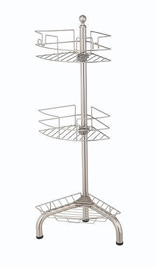 Amazon.com: HomeZone 3 Tier Adjustable Floor Standing Shower Caddy ...